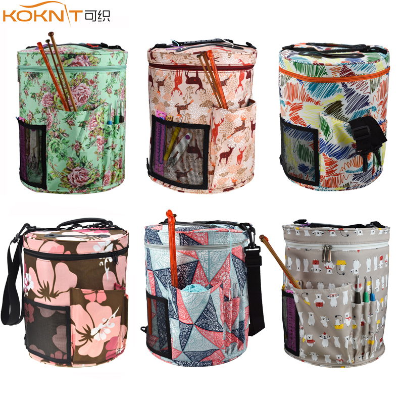 KOKNIT 14 Styles Knitting Bag Yarn Organizer Bag For Wool Crochet Hooks Knitting Needles Sewing Set DIY Yarn Balls Storage Bag-in DIY Knitting from Home & Garden