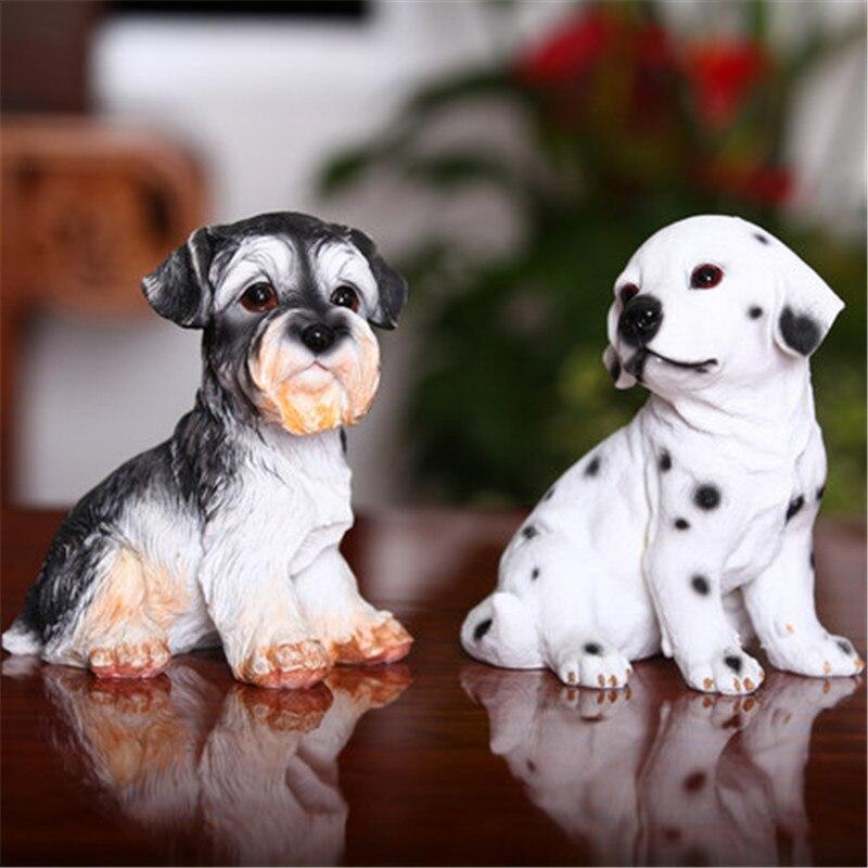 Fait à la main vif peint à la main schnauzer chien statue dalmatiens chien figurines résine animal sculpture créative maisons décorations