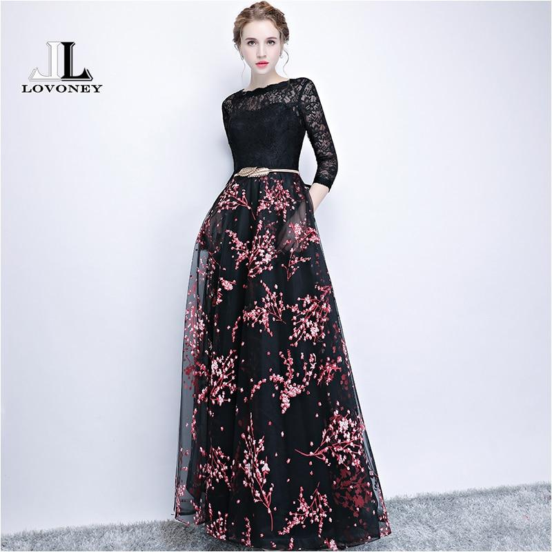 7c2e61156a2 LOVONEY элегантное кружевное вечернее платье с длинным цветочным принтом