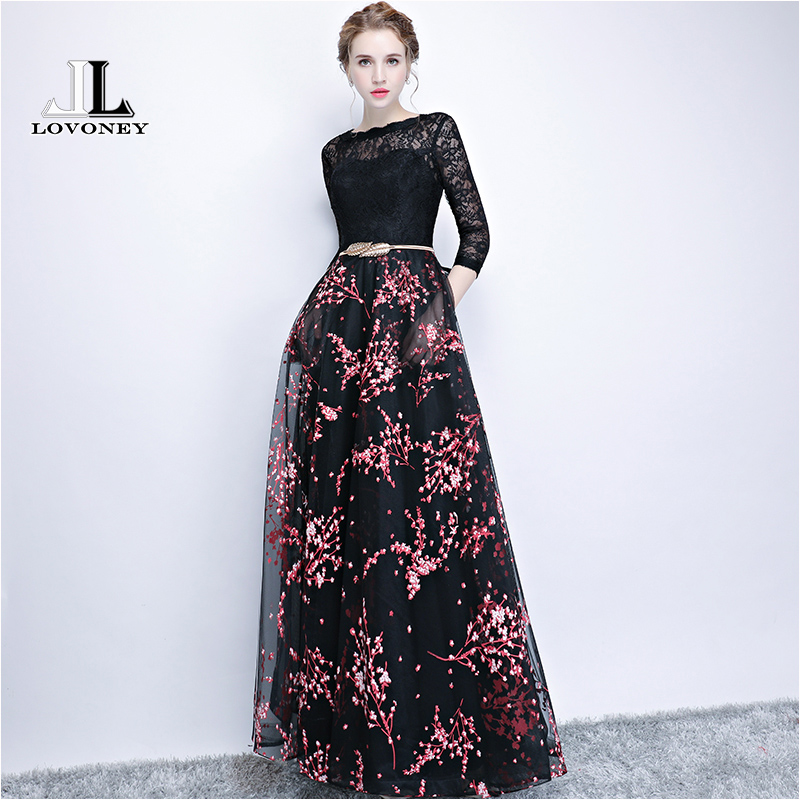 LOVONEY Elegant Lace   Evening     Dress   Long Flower Print Occasion Party   Dress     Evening   Gown Formal   Dresses   Robe De Soiree YS410