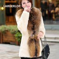 LARGERLOF Coat Fur Women Winter 2018 Elegant women Coats Thick Warm Winter Jacket Coat FC50024