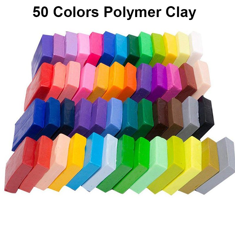 50 Colors Polymer Clay, DIY Soft Molding Craft Oven Baking Clay Blocks Birthday Gift For Kids Adult (50 Colors With Box)