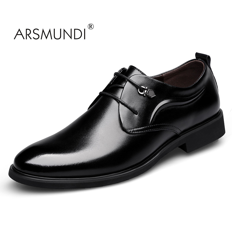 ARSMUNDI Men Dress Shoes Business Genuine Leather Fashion Business Dress Shoes 2017 Lace Up Men Formal Casual Shoes TS-220