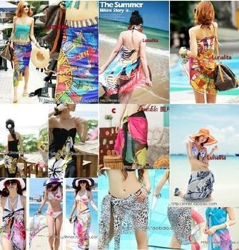 20pcs women's Chiffon Swim Wear/Bikini smock mantle large veil beach towels swimsuit sarong wearing yarn wrapped new veil
