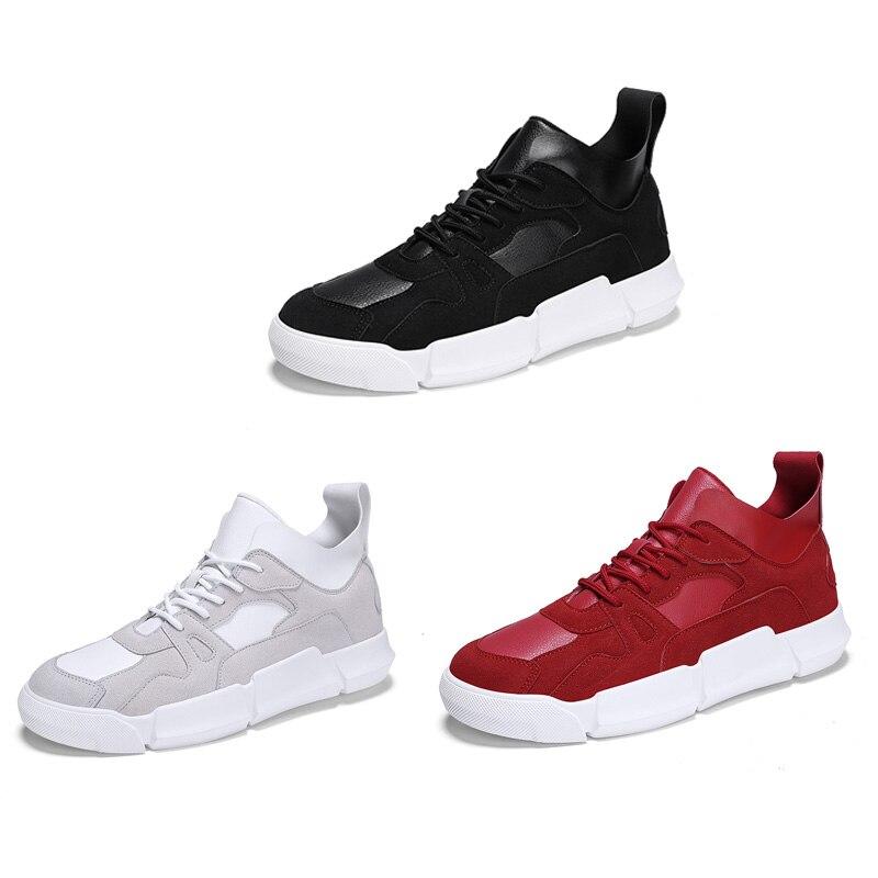 Noir Mode Nouveaux Hommes Daim up Occasionnel rouge Printemps Chaussures Noir Casual Ngouxm Homme Léger Dentelle Sneakers blanc De Automne Cuir En Uw0Tzq5