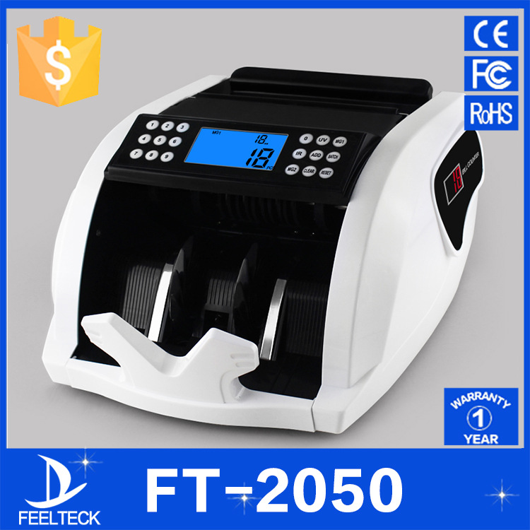 FT2050 110V/220V EU/US PLUG New LCD Display Money Bill Counter Counting Machine Counterfeit Detector UV & MG Cash Bank ocbc 2108 low price bill counter with uv and mg function