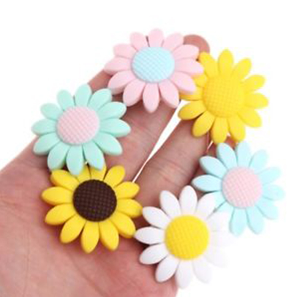 Baby 6 Style Colorful DIY Safety Chewy Silicone Sunflower Beads Pendant Teether Infant Safety Teething Gift Necklace Decoration