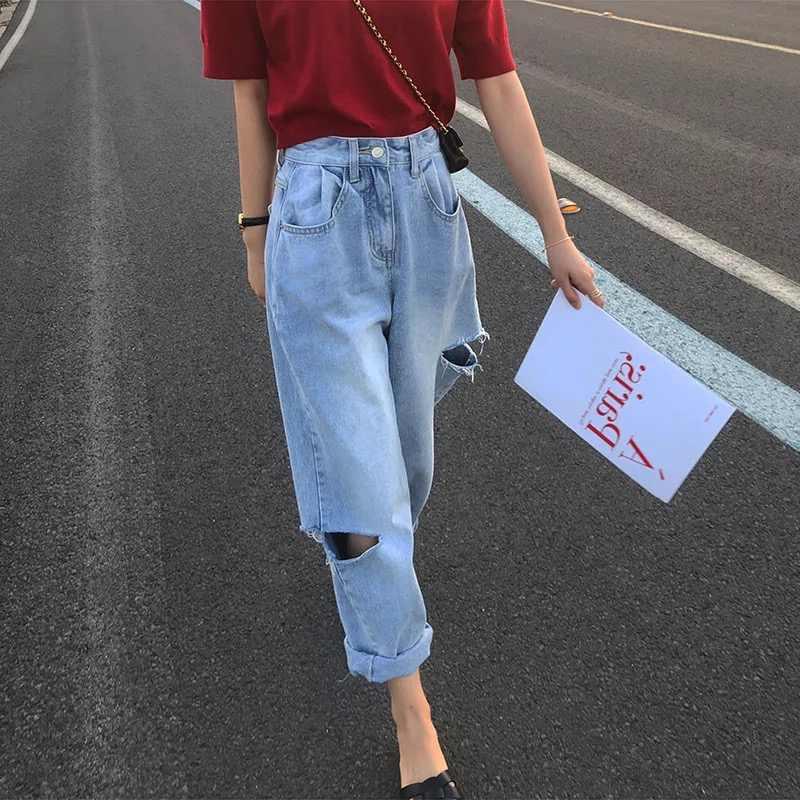 Women Retro High Waist Denim Wide Leg Ankle Pants Trousers Boyfriend Jeans S-5XL