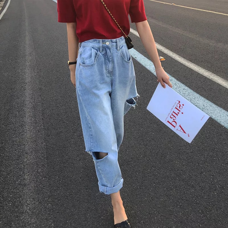 Wide Leg Ripped Jeans Woman High Waist Plus Size Cut Denim Korean Pants Trousers 5xl Women Boyfriend Bf Hole Oversized Jeans