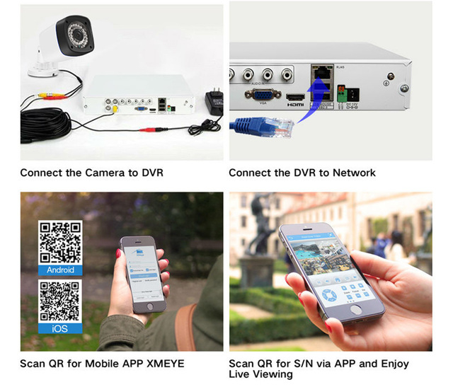 Techege 4CH CCTV System 2.0MP 4channel AHD-H 1080P DVR 2.0 MP IR Outdoor Night Vision AHD Camera kit Video Surveillance System