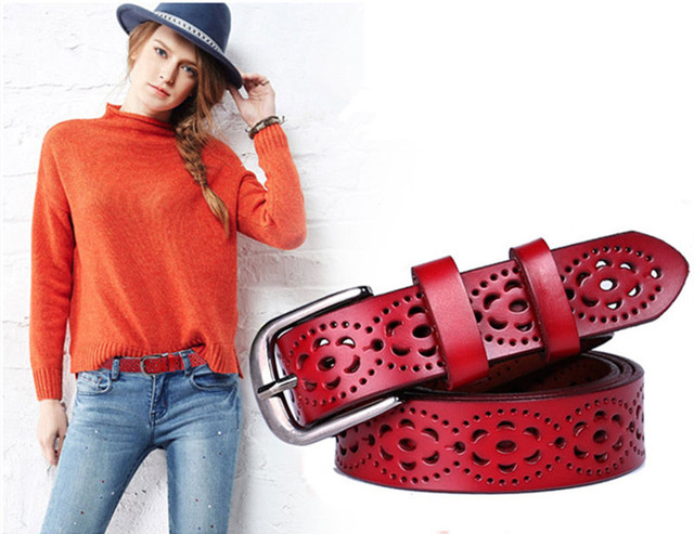 New Women Fashion Wide Genuine Leather Belt Woman Without Drilling Luxury Jeans Belts Female Top Quality Straps Ceinture Femme 1