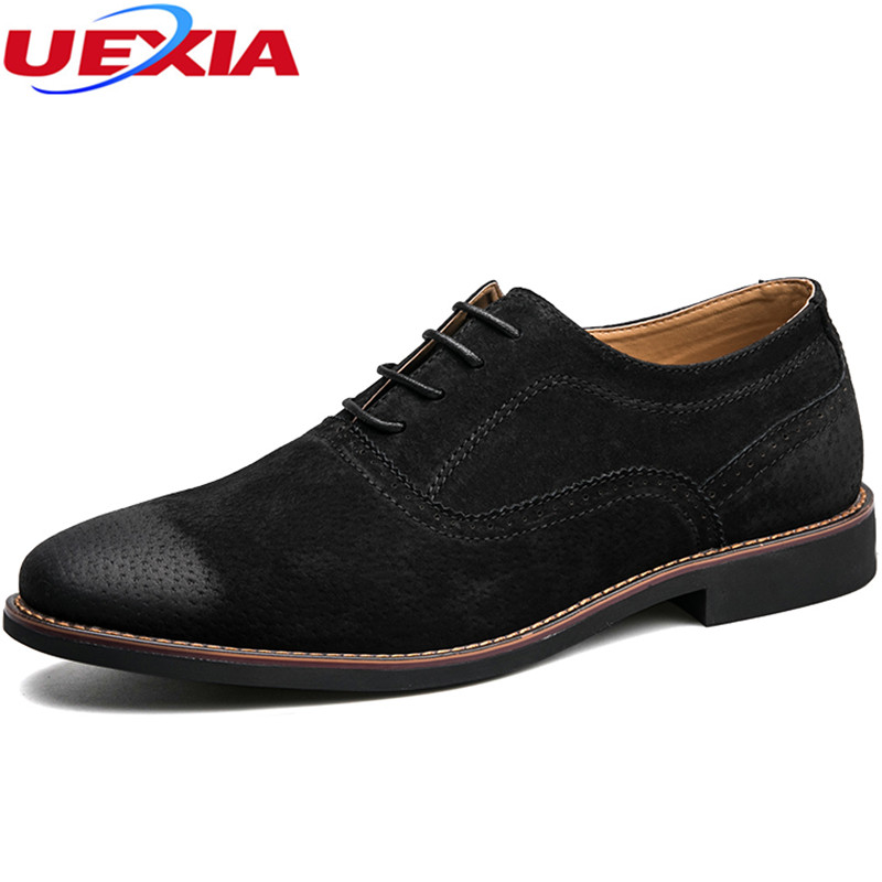 UEXIA Designer Black Brown Brogue Shoes Leather Lace Up Men Formal Dress Oxfords Party Office Wedding Casual Vintage Pointed Toe