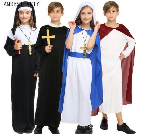 Halloween Party Kleding.Us 5 19 12 Off Nieuwe Kind Volwassen Cosplay Priester Kostuum Kinderen Halloween Party Kleding Mary Jurk Jezus Kostuum Black Nun Gewaad