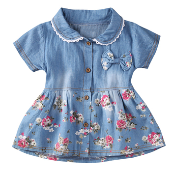 Denim Dress For Girl Baby 2018 New Summer Flower Princess Dress Party Wedding Pageant Dresses Clothes girls dress fox squirrel bird mushroom striped cotton 2018 summer princess wedding party dresses kids clothes size 7 14 pageant
