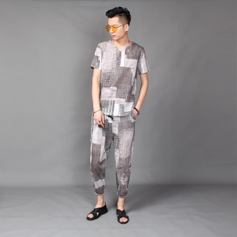 2018 nuevo estilo de pelo de estilista T shirt traje de verano de material de cáñamo de manga corta 9 minutos pantalones traje de marea L 4XL