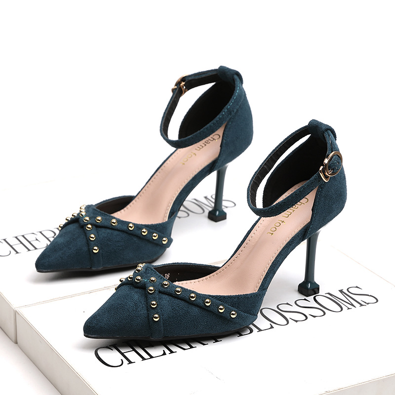 XZ007 Spring Women Shoes Sexy High Heels Pointed Toe Pumps Quality Flock Hollow Sandal Rivet Strap Thin