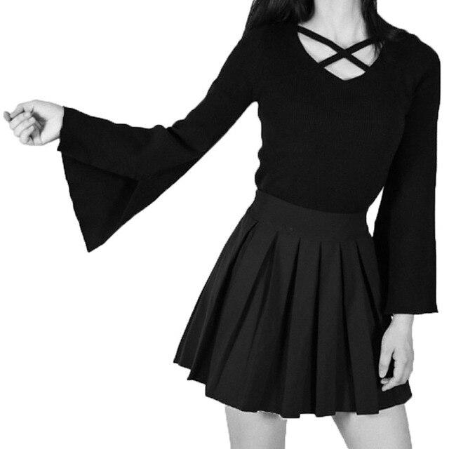 c78a379a4454ed WAEOLSA Fashion Women Chic Tops Lacing Neck Design Blouses Woman Casual  Tunic Plus Size Ruffle Sleeve Top Lady Black Blouses 4XL
