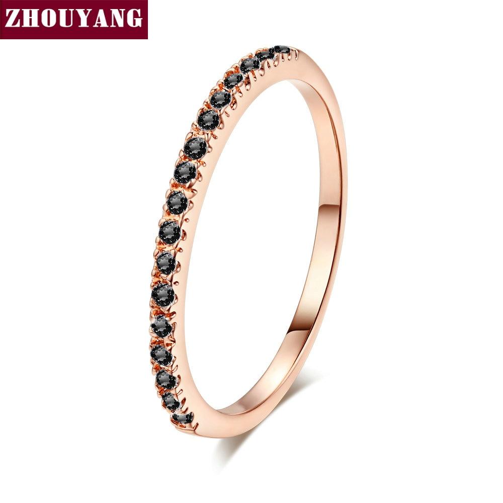 ZHOUYANG обручальное кольцо для женщин и мужчин лаконичное классическое многоцветное мини кубическое циркониевое розовое золото цвет подарок модное ювелирное изделие R251 - Цвет основного камня: R231
