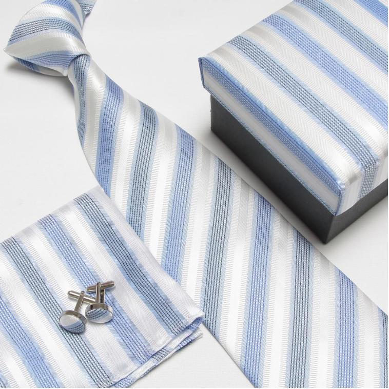 Мужская мода высокого качества полосатый набор галстуков галстуки Запонки hankies шелковые галстуки Запонки карманные носовые платки - Цвет: 17