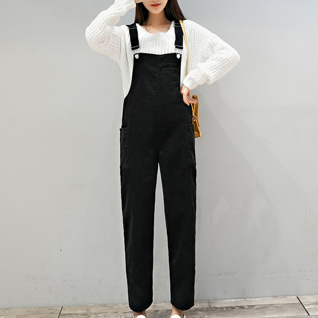 d5daa053510 Autumn Winter Black Brown Jumpsuits Women Solid High Waist Corduroy Overalls  Casual Plus Size Rompers Womens Jumpsuit