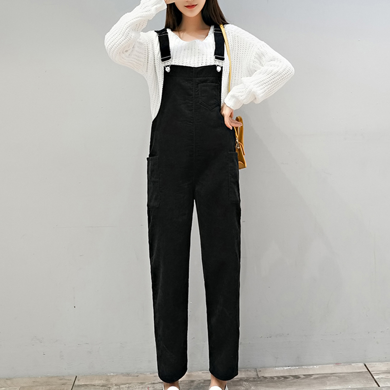 Autumn Winter Black&Brown   Jumpsuits   Women Solid High Waist Corduroy Overalls Casual Plus Size Rompers Womens   Jumpsuit   Pockets