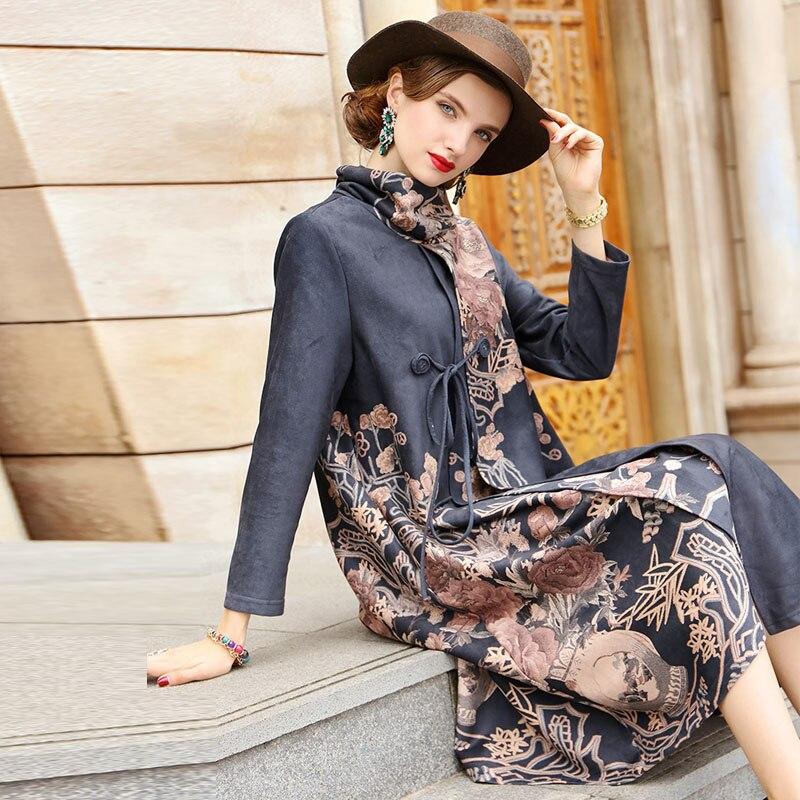 Embro Mill Women vintage royal print   trench   coat Suede Fabric Turtleneck plus size elegant lady long floral coat M-3XL high-end
