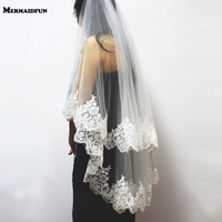2017 New Two Layers Sequins Lace Edge Short Wedding Veil With Comb 2 Layers 0.9 Meter Tulle Bridal Veil For Wedding Dress