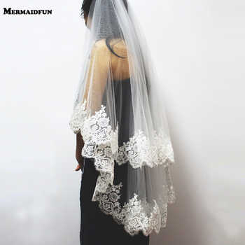 2019 New Two Layers Sequins Lace Edge Short Wedding Veil With Comb 2 Layers 0.9 Meter Tulle Bridal Veil For Wedding Dress - DISCOUNT ITEM  25% OFF All Category