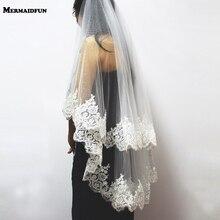 Voile de mariée court en dentelle à deux couches de paillettes, avec peigne, voile de mariée, 2020 mètre, pour robe de mariée, nouveauté 0.9