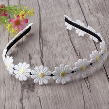 M MISM Girls White Daisy Flower Hair Bands Embroidery Sweet Hair Hoop Elastic Headband Hair Accessories For Festival Wedding(China)