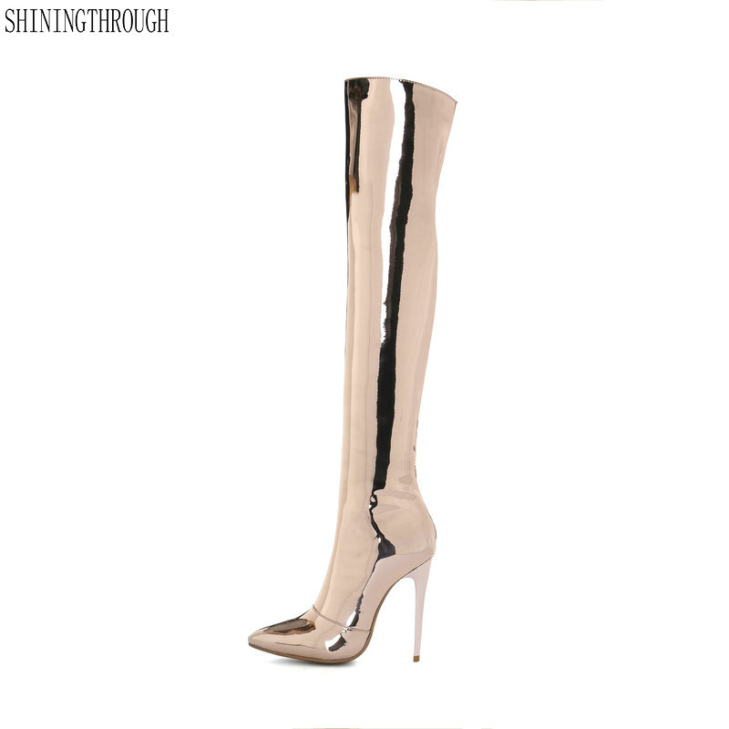 New women over the knee high boots12cm thin high heels ladies boots sexy club dancing shoes