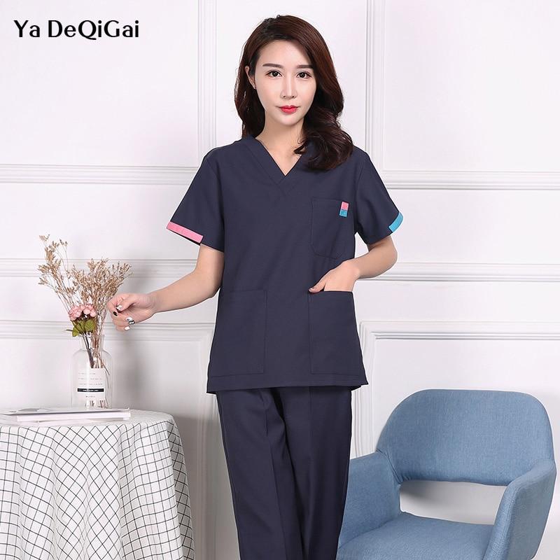 High Quality Beauty Salon Sets Spa Uniform Medical Surgical Cotton Pharmacy Sets Nursing Uniform Scrubs Medical Uniforms Women