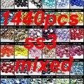Colores mezclados Rhinestones Para Uñas Decoración Del Arte 1440 unids ss3 1.2-1.4mm Sueltas Piedras Y Cristales DIY Artesanía adornos