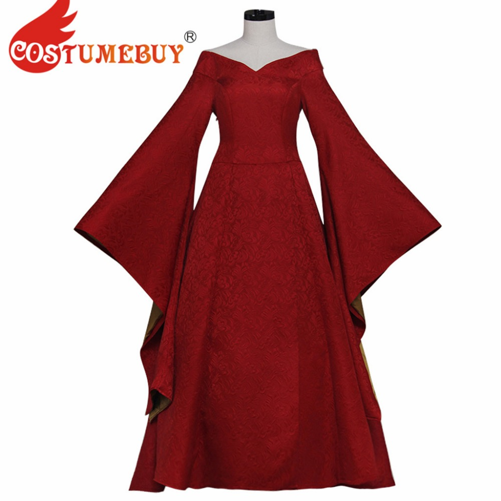 CostumeBuy Game of Thrones Cersei Lannister Cosplay Costume Halloween Medieval Women Red Gown Dress Song Of