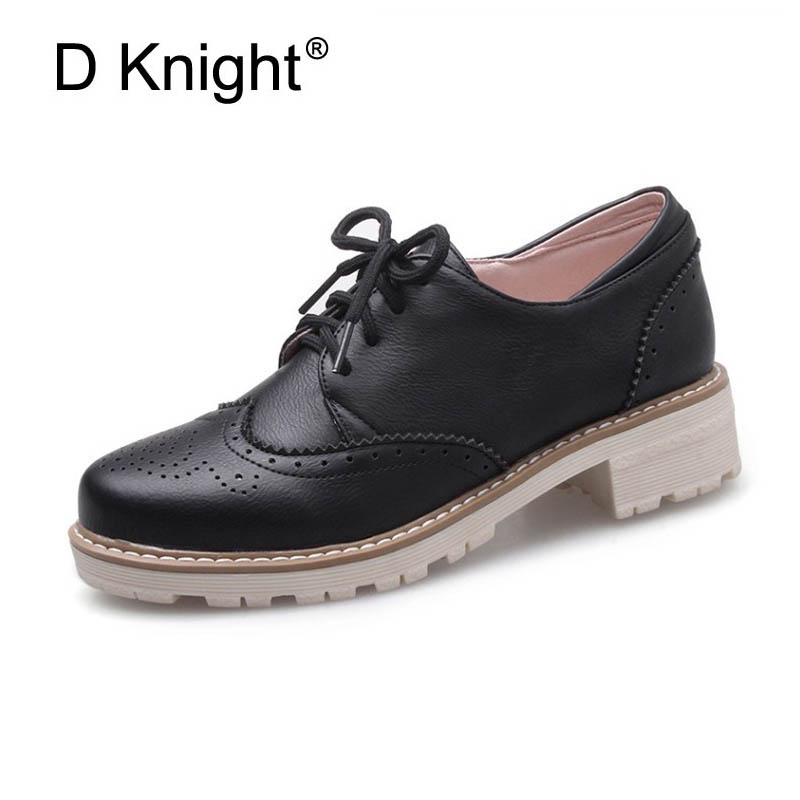 Fashion Round Toe Lace Up Oxford Shoes For Women Fashion Carved Brogue Women Oxfords England Style Ladies Campus Oxfords Shoes new fashion round toe carved brogue oxford shoes for women vintage lace up women oxfords big size 34 43 ladies casual flats