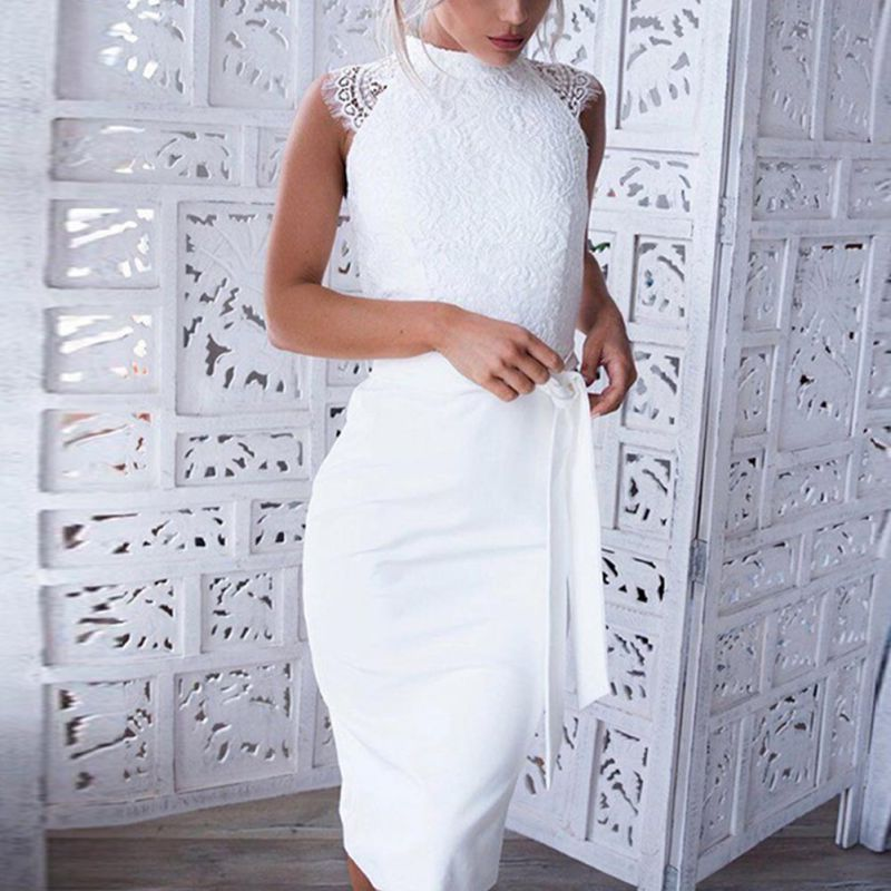 Women Bodycon Summer Dress O-Neck White Lace Cording Stitching Waistband Sleeveless party Dresses Vestidos