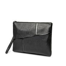 Korean Version Stitching Leather Handbag Male Envelope Bag Large Capacity Soft