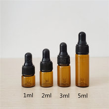 Free shipping 50PCS 3ml Amber Glass Dropper Bottle Jars Vials With Pipette For Cosmetic Perfume Essential Oil Bottles