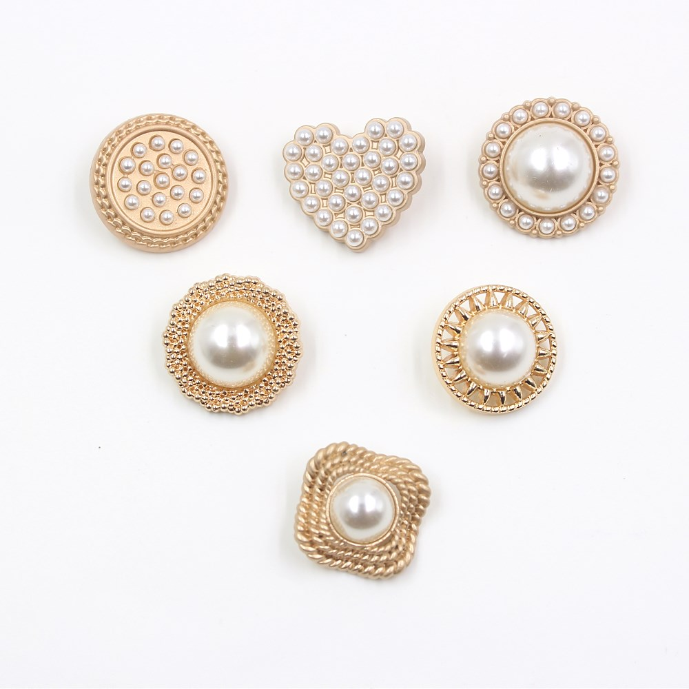22mm  25mm 10pcs/lot Pearl Metal Buttons Gold Sweater Coat Decoration Shirt Buttons Accessories DIY A-19512-471