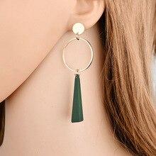 Triangle wood long earrings sexy geometric jewelry pendant female
