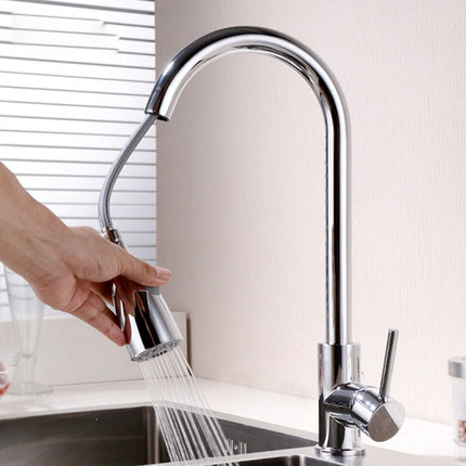 Modern Kitchen Sink Faucet Mixer Chrome Finish Kitchen Pull-Out Water Tap 360 Rotate Hot Cold TapModern Kitchen Sink Faucet Mixer Chrome Finish Kitchen Pull-Out Water Tap 360 Rotate Hot Cold Tap
