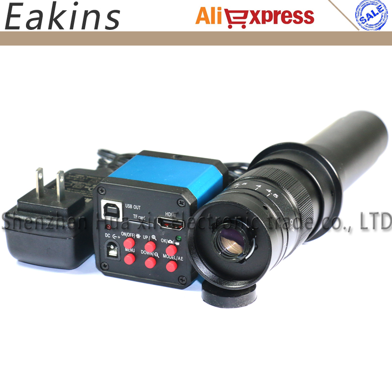 14MP HDMI 720P HD USB Digital Industry Video Inspection Microscope Camera Set TF Card Video Recorder + 10~180X C-MOUNT Zoom Lens hd 16mp hdmi usb digital industry video inspection microscope camera set tf card video recorder 28x 600x c mount zoom lens