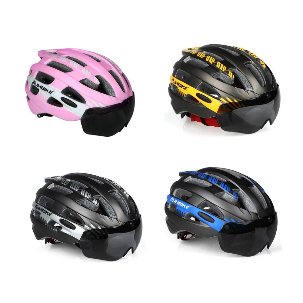 INBIKE Cycling Helmet Ultralight Bike Helmet Men Mountain Road Women MTB Windproof Glasses Bicycle Helmet Magnetic Goggle M L