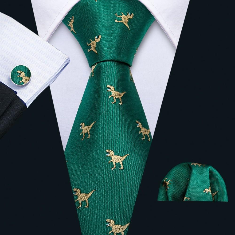 Brillant 2019 Neue Ankunft Männer Krawatte Set Dinosaurier Muster Grün Gold Mens Hochzeit Krawatte 8,5 Cm Krawatte Business Silk Krawatten Für Männer Fa-5192 Schrumpffrei