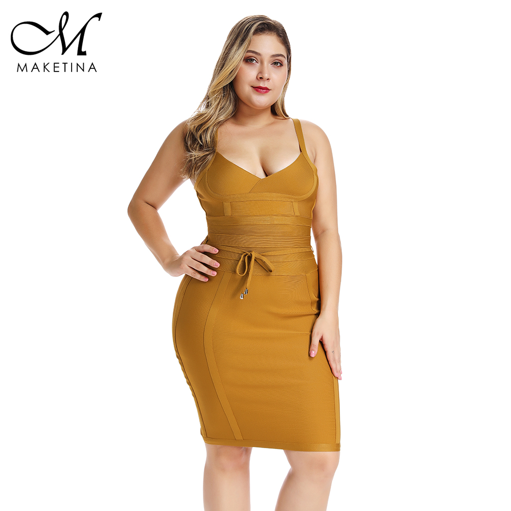 Maketina Bandage robe 2019 été femmes jaune Spaghetti sangle Sexy grande taille moulante robe 4XL grande taille robe de soirée Clubwear