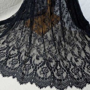 3Meter French high-end designer clothing eyelash lace silk yarn lace DIY wedding veil dress home accessories(China)