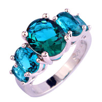 New Sparkling Green Topaz 925 Silver Ring Oval Cut Size 6 7 8 9 10 11 12 13 Wholesale Free Shipping For Unisex Women Jewelry