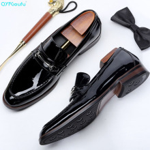 QYFCIOUFU New Fashion Patent Leather Men Loafers British Style Square Toe Slip On Genuine Casual Flats Luxury Mens Shoe