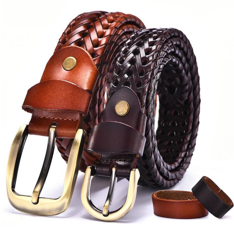 Women Braided Belt For Men's Woven Belt Luxury Genuine Leather Cow Straps Hand Knitted Designer Men For Jeans Girdle Male Belts