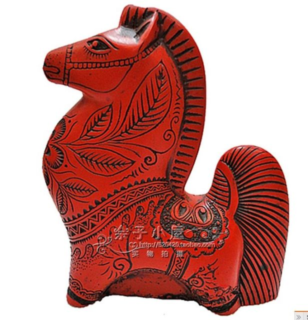Chinese Carved Flower Red Cinnabar Lacquer horse statue